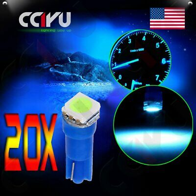 20pcs T5 Ice Blue 70 73 74 Dashboard Gauge 1-5050-SMD LED Wedge Lamp Bulbs Light