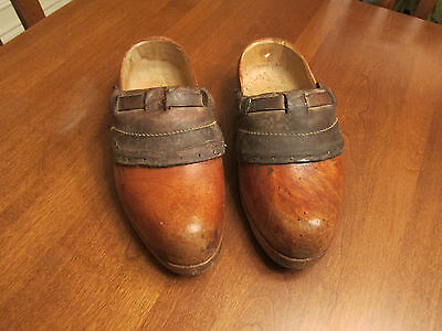Vintage Pair Of Carved Wood & Leather Dutch Clogs Large Size