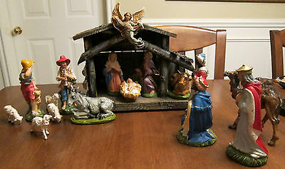 Vintage 1950'-60's 16pcs with Wood Stable Nativity Set Plaster Figures