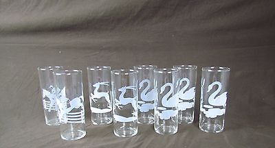Lot 8 Etched Highball Barware Glasses Clear Vintage Federal Glass