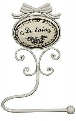 Stylish Sturdy LE BAIN Wall Mounting Shabby Chic Toilet Roll Holder White