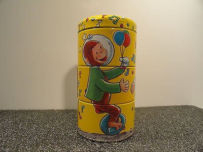 Curious George Twisrting Tin Litho Stackable Cannister Schylling