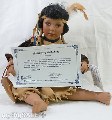 "DUCK HOUSE Heirloom Native American Indian Girl ""Halona"" Porcelain Doll 201/5000"