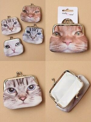 Pack Of 4 Cat Face Fabric Coin Purse With Ball Snap Clasp : Sp-6527 Pk4