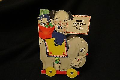 Vintage ELEPHANT Christmas Card c. 1940s by: gibson