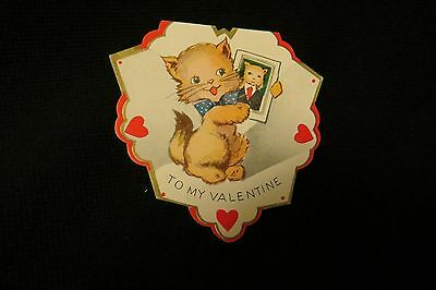 Vintage KITTEN Valentine card c. 1940s by: A.C. co.