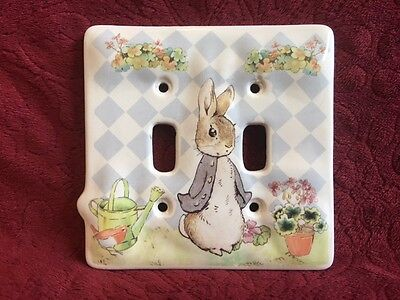 C R GIBSON Peter Rabbit Beatrix Potter Double Switch Plate Ceramic F. Warne