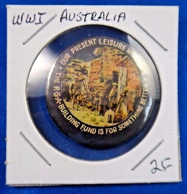 Original Vintage WWI WW1 Australia RSA Building Fund Pin Pinback Button