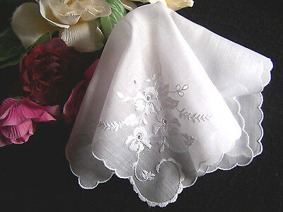 "Vintage White on White EMBROIDERED Handkerchief Hanky 11"" Exc Condition"