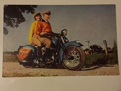 Vintage 1941 Harley Davidson Factory Advertising Postcard Unused
