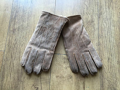 100% REAL SUEDE LEATHER Winter Gloves Fleece Lined Mens Brown Beige - NEW