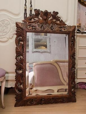 Circa 1890 large French florentine Bevelled glass carved wooden mirror