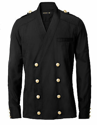 BALMAIN x H&M Black Double Breasted Gold Buttons Button Down V-Neck Shirt L
