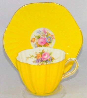 Beautiful Bright  Yellow Ruffled and Floral Bouquet Foley Tea Cup and Saucer Set