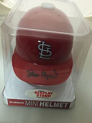 Autographed/Signed STAN MUSIAL St. Louis Cardinals Baseball Mini Helmet STM COA