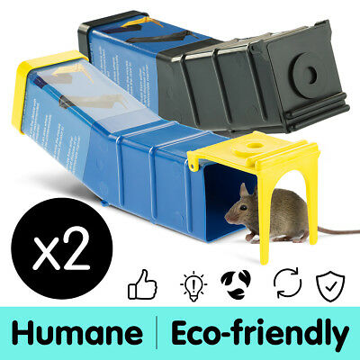 2x New Humane Mouse Rat Mice Trap Live Capture Animal Pest Cage Safe Reusable