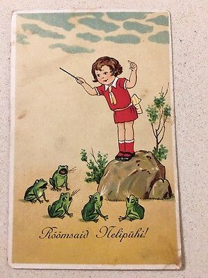 Vintage Frog POSTCARD GIRL CONDUCTS five singing FROGS