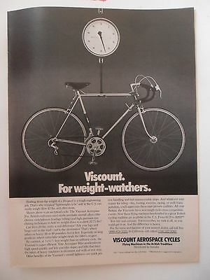 1975 Print Ad Viscount Aerospace Bicycle Cycling ~ Weight-Watchers