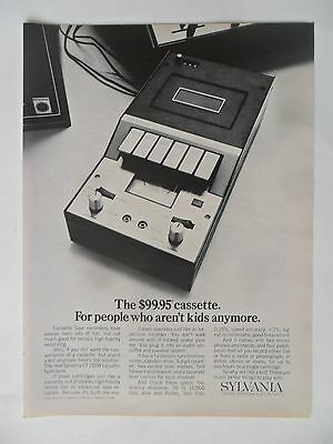 1970 Print Ad Sylvania Electronics Cassette player ~ For People Who Aren't Kids