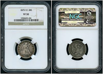 1875Cc - U.s. 20¢ Silver  Ngc -- Graded Vf 30 -- Carson City Hw2165