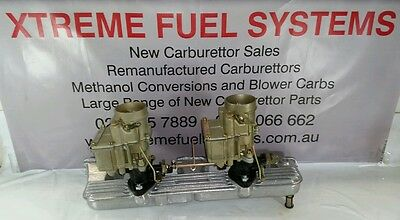 Reco Twin Stromberg Carbs +New Redline  Manifold Gold Finish Suit Holden Engine