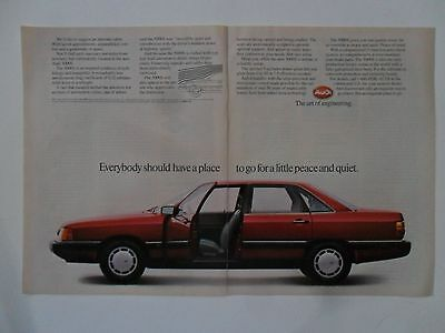 1986 Print Ad Audi 5000S Car Automobile ~ A Place to Go for Peace and Quiet