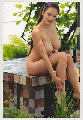 Postcard Pinup Sexy Girl Bare Butt Nude Topless Breast Babe Wine Post Card 7255