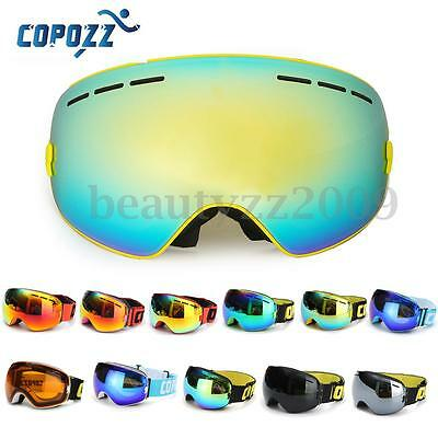COPOZZ Spherical Dual-layer Lens Snowboard Goggles UV400 Anti-fog Skiing Glasses