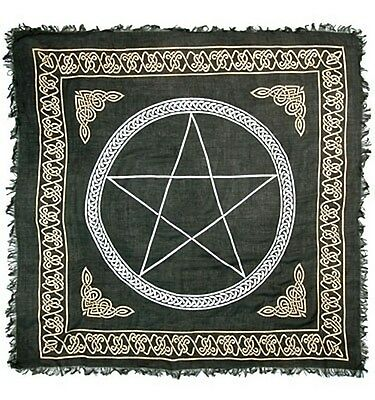 """NEW Gold Silver Pentacle on Black Altar Cloth 36"""" x 36"""""""
