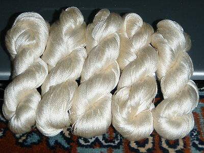 1 Skein - 300 Meters - 100% Silk Hand Embroidery Thread - Shinny - White