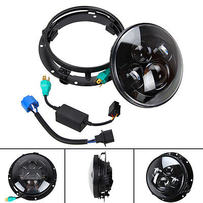 "7"" Inch Projector Daymaker Hi/Lo HID LED Headlight Bulb DRL Headlamp+ Trim Ring"