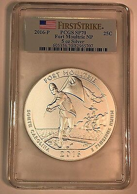 2016 P Fort Moultrie 5 Oz Atb Pcgs Sp70 First Strike America The Beautiful