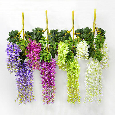 Wedding Home Hanging White Ivy Party Artificial Silk Flower Wisteria Floral Vine