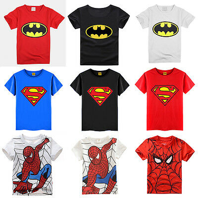 Kids Boys Superman Spiderman Short Sleeve T-Shirt Casual Summer Tee Shirts Tops