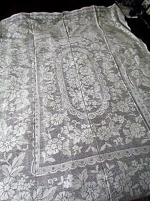 """Vintage 72x60"""" Small Quaker lace Floral tablecloth table cloth Cotton White new"""