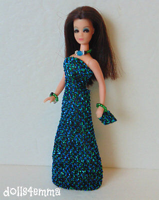 DAWN DOLL CLOTHES green-blue Shimmer Gown + Purse +Jewelry Fashion NO DOLL d4e