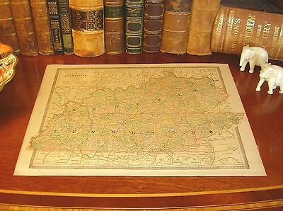 Original 1883 Antique Map KENTUCKY TENNESSEE Lexington KY Gallatin Knoxville TN