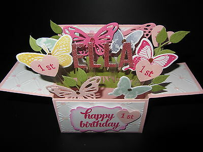 Handmade card, 3D Birthday Card in a box -  Butterflies,PERSONALISED