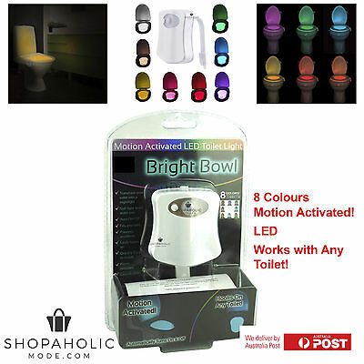 Bright Bowl Motion Activated Toilet Bowl 8 Colour LED Night Light IllumiBowl