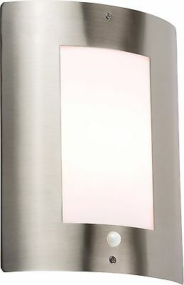 ML Knightsbridge IP44 E27 40w MAX Exterior Pared Acero Inoxidable Incluye Pir