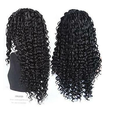 """24"""" Curly Lace Front Wigs Long Black Heat Resistant Synthetic Hair Full Wig+Cap"""