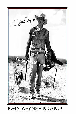 John Wayne Large Autograph Signed Poster Photo Print, Looks Great Framed