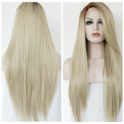 Light Blonde Mixed Women Hair Synthetic Lace Front Wig Heat Resistant+Wig Cap