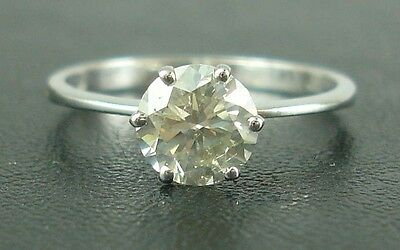 1.42 Ct Real Solitaire Diamond Engagement Ring In 18K  White Gold