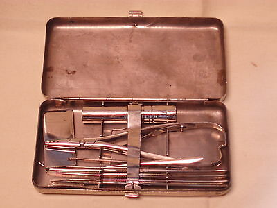Antique scarce Austrian WWII full surgical medical field gear Graz steel box!