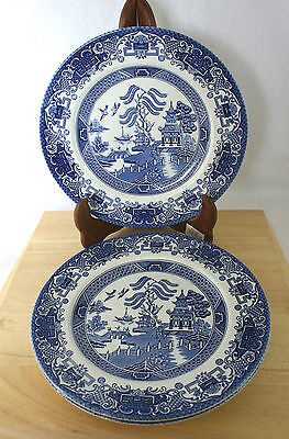 Vintage Blue Old Willow Dinner Plates Set of 3 English Ironstone