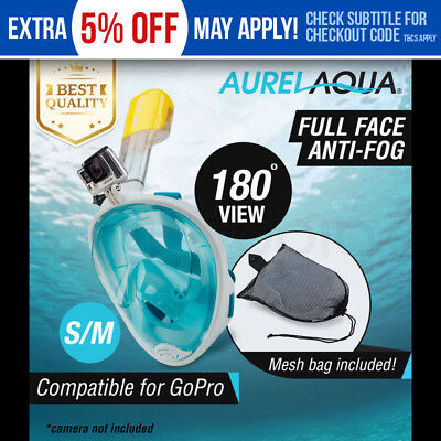 Aurelaqua Full Face Snorkel Mask - Scuba Diving Snorkeling Set GoPro Camera Swim