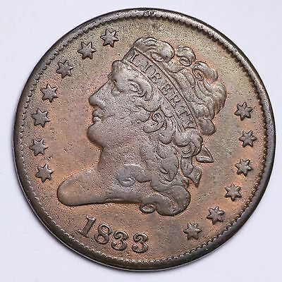 1833 Classic Head Half Cent CHOICE XF+/AU Some Luster FREE SHIPPING E101 NM