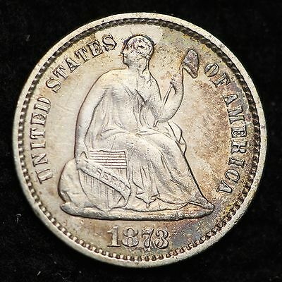 1873 Seated Liberty Half Dime CHOICE AU+/UNC FREE SHIPPING E202 NM