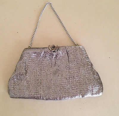 Vintage 1960's Silver Clutch Evening Bag Heart Clasp